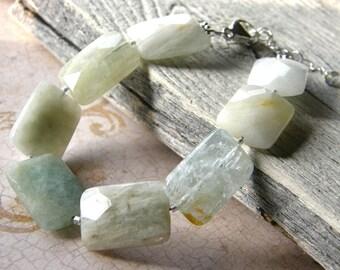Aquamarine Bracelet, Chunky Blue Bracelet, Gemstone Beaded Bracelet
