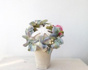vintage floral hat / vintage 60s hat / Quilled Floral Crown