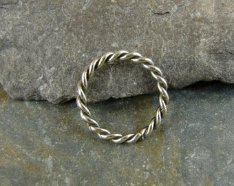 Twist Circle Sterling Silver Connectors or Links - 17mm - One - Artisan Sterling Findings - ltc