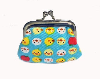 Yellow Chicks  - Tiny Kiss Lock Metal Frame Purse