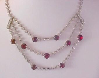 Ruby Red Rhinestone~Diamante Chatons Three Strand FESTOON Necklace/Choker