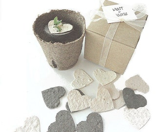 50 Plantable Seed Paper Hearts Eco Friendly, Wedding Favors, Bridal Showers