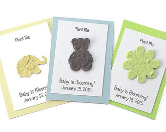 25 Plantable Baby Birth Shower Announcements - seed paper elephant, bear, owl, flower-Personalized Baby Shower Favors