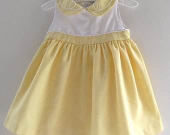 Vintage Baby Dress, 24 Months, Yoke, Rayon Polyester Blend, Sleeveless, Butter Yellow, Zipper Back, High Waist, Gathered