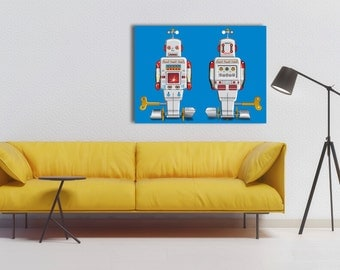 Pop Art Silver Sparking Robot Canvas Print