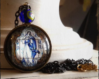 portuguese tile image pendant Our Lady of the Immaculate Conception
