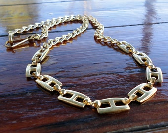 Vintage Gold Tone 24 Inch Necklace with Chain and Squared Links 1980s