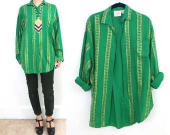 Vintage Limited 1987 Collection green and gold KEY striped print oversized blouse 1980s 80s