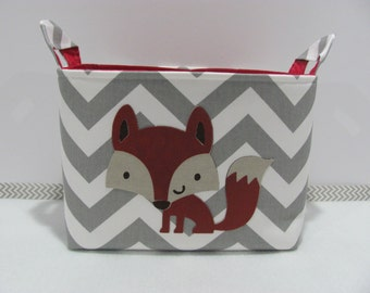 NEW Fabric Basket Applique FOX LARGE Organizer Basket Storage Container Toy Bin Bucket Diaper Bag - Size Large - Grey Chevron Fox