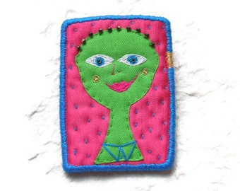 """Brooch """"Hundertwasser People"""", hand embroidery textile jewelry"""