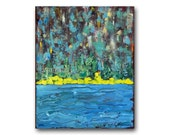 Abstract Expressionist Painting Fine Art Landscape Acrylic on Canvas 16x20 Contemporary Aqua Teal Yellow Modern Large Format Original Art