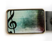 Music Note Treble Clef Belt Buckle in Aqua and Black
