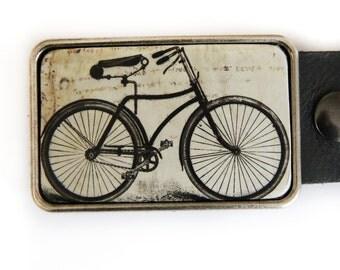 Vintage Bicycle Belt Buckle Black and White