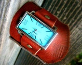 Gorgeous Rich Brown Cowhide Unisex Cuff Watch in Sky Blue