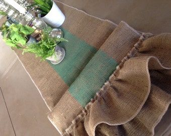 Burlap Table Runner with Wide Striping and Burlap Ruffles Grainsack style