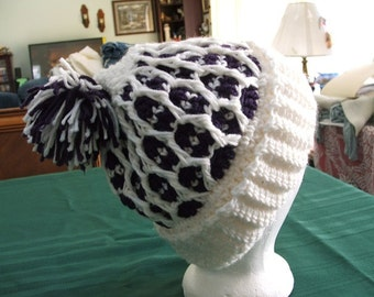 Honeycomb Hat in Amethyst and White, Adult