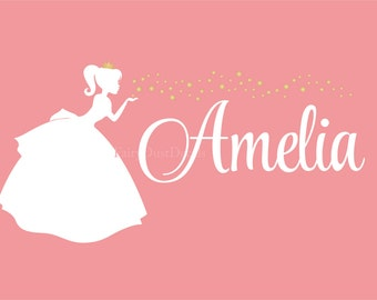 Princess Wall Decal, star wall decals, Personalized Name decal, princess nursery, little girl decals, girl name wall decal, princess stars