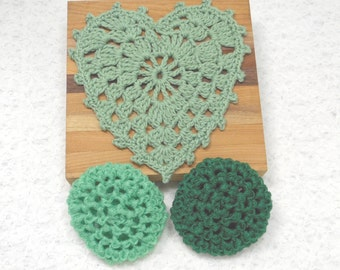 Pot Scrubbers, Dishcloth, kitchen set, nylon net,100% cotton, home, eco-friendly, washable, scratch free, durable. Pick your 3pc.