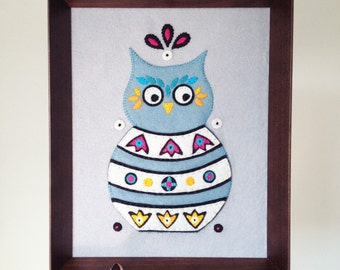 Wall Hanging framed embroidery Russian Owl  - embroidered home decor - owl lover gift - wisdom - shadowbox - all hand sewn - OOAK