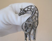 Huge Vintage Sterling Silver Marcasite Giraffe Brooch Pin Figural Iron Pyrite