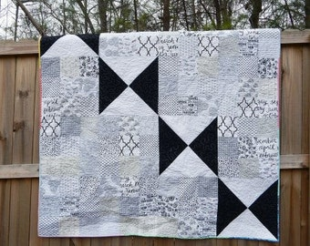 Black Butterfly Quilt, You choose Size and color palette