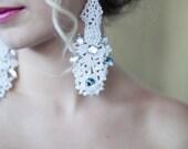 Hand Beaded Crystal Lace Earrings