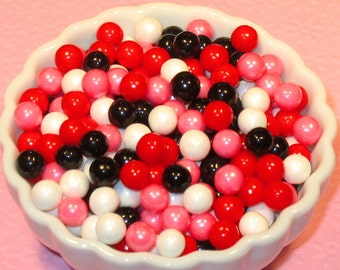 Red, Pink, White & Black Candy Beads 7 MM  (3 oz)  Candy Bead Decorations, Candy Bead Cake Toppings, Cupcake Toppings, Cupcake Sprinkles