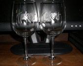 Set Of 2 Nebraska Cornhuskers NCAA Wine Glasses