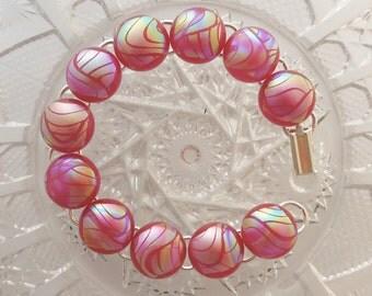 Pink Bracelet - Charm Bracelet - Dichroic Glass - Dichroic Fused Glass Bracelet - Glass Jewelry - Fused Glass - Bangle X4666