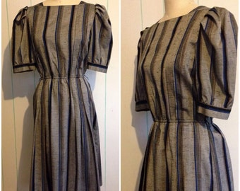 Reserved: Striped Gray and Blue Secretary Dress