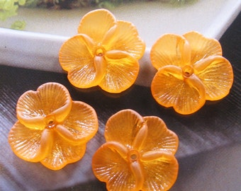 12 pcs 22mm - Frosted Pansy flower beads (FL005-A)