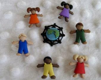 Children Around The World Buttons  Set of 7