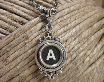 Typewriter Key Jewelry - Type Key Necklace - Black Initial A Antique Silver Typewriter Key Necklace - Personalized Jewelry