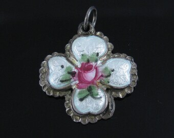 Vintage White Enamel Red Rose 4 Four Ways Cross Sterling Silver Pendant