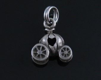 Vintage Sterling Silver Carriage Buggy with Heart Charm