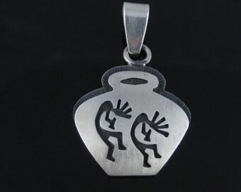 Vintage Hopi Kokopelli Fertility Goddess Sterling Silver Pendant