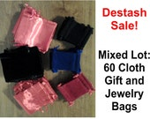 Lot of 60 Small Cloth Gift Bags Velvet, Satin and Velour