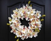 Spring Orchid Wreath, Spring Orchids, Year Round Wreath, Front Door Decor, Door Wreaths, Spring Inspirations, Spring Wreaths, Spring Decor