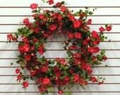 XL Spring Wreath, XL Red Petunia Wreath, Annual Petunias, Petunia Hanging Basket, Spring Petunias, Petunia Baskets, Annuals, Summer Wreaths