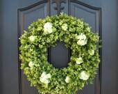 Spring Boxwood Wreath,Large Boxwood Wreaths,Summer BOXWOOD Wreath,Boxwood Wreaths, Artificial Boxwood,Faux Boxwood Wreaths for Door
