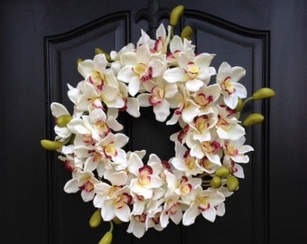 SUMMER Orchid Wreath, Summer Orchids, Year Round Wreath, Front Door Decor, Door Wreaths, Summer Inspirations, Summer Wreaths, Summer Decor