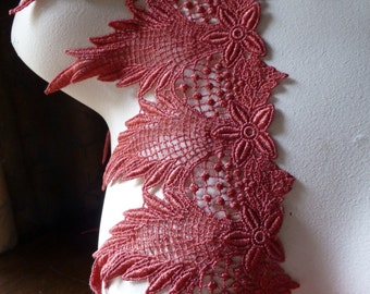 SALE RED Lace in Tomato Red for Bridal, Lace Jewelry, Costume Design L 3000tr