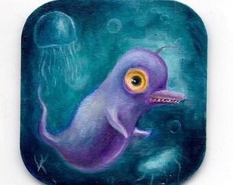 Purple Sea Monster, Big Eye Monster Art, Pop Surrealism,  Creepy Cute Whimsical Painting, Funny Art,  Lowbrow Art, Leviathan, Childrens Art