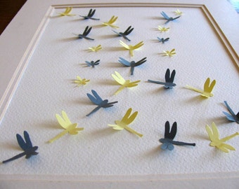 INVENTORY CLEARANCE Gray & Yellow 3D Dragonfly Art. Paper Wall Art, Decor. Nursery Art. 8x10 inches