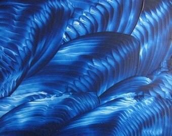 5X7 Polished Blue Encaustic (Wax) Abstract Original Painting. Royal Blule. SFA (Small Format Art)