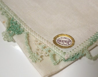 Vintage Irish Linen Hankie - Handkerchief with Variegated Green Crocheted / Tatted Edging