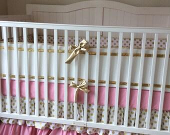 Gold and Blush Pink Ruffled Crib Bedding Set