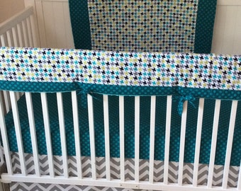 Crib Bedding Teal Black and Gray Bumperless Ready to Ship