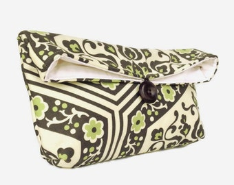 Handmade Makeup Bag, Green Flowers Clutch Purse, Great for Travel, Gift Under 25, Black Green Ivory, Bridesmaid Gift, Bridesmaid Clutch