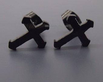 Canonical black steel cross stud earrings, men's stud earrings, cross stud earrings, small cross earrings, black stainless steel studs, 419A